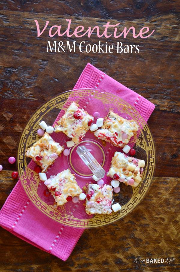 Valentine M&M Cookie Bars