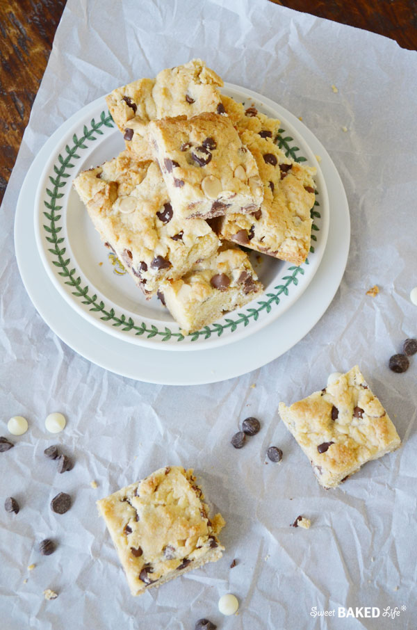 Triple Chocolate Chip Cake Batter Blondies
