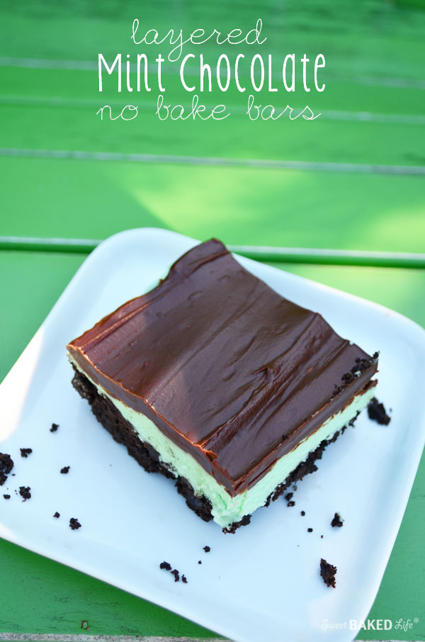 Layered Mint Chocolate Bars - no bake!