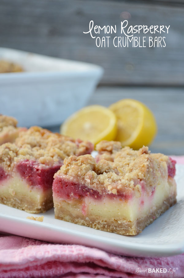 Lemon Raspberry Oat Crumble Bars - so delish!