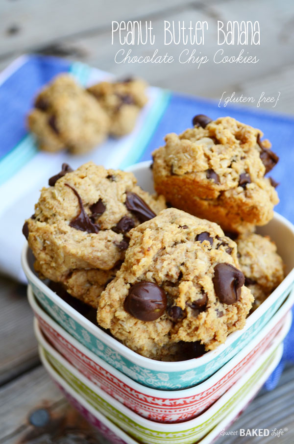 Peanut Butter Banana Chocolate Chip Cookies {gluten free}