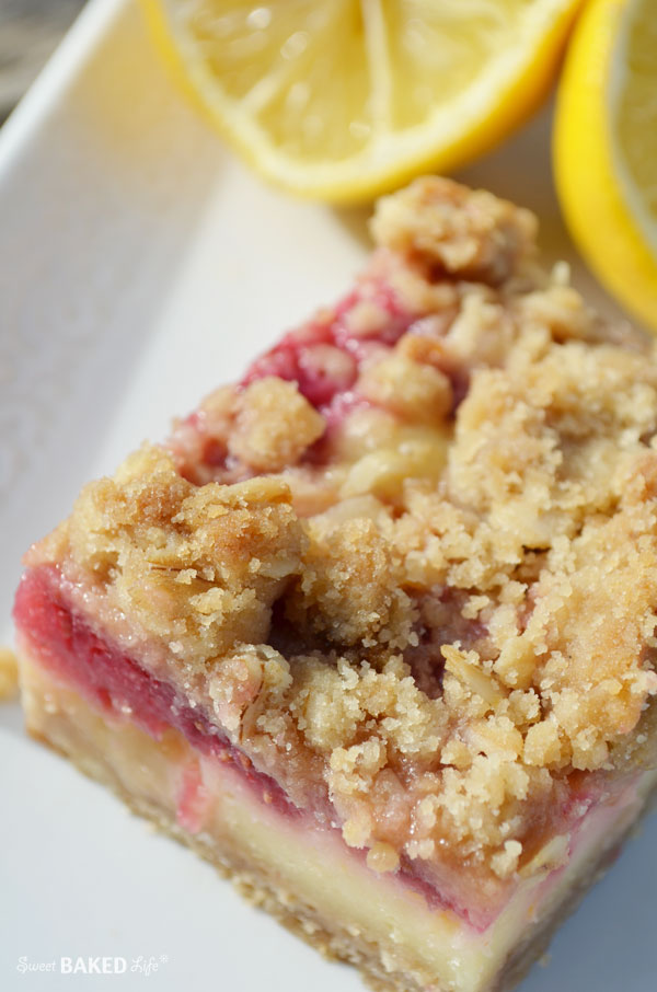 Lemon Raspberry Oat Crumble Bars - lemony goodness!