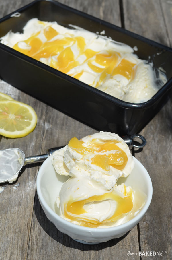 Lemon Curd Swirl Ice Cream | Sweet Baked Life