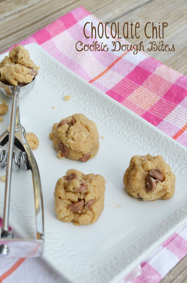Chocolate Chip Cookie Dough Bites | They're egg free and safe to eat!. | Sweet Baked Life
