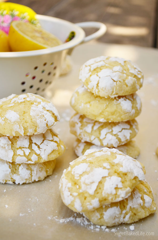 Lemon Crinkle Cookies - soft, fluffy and delish! | Sweet Baked Life