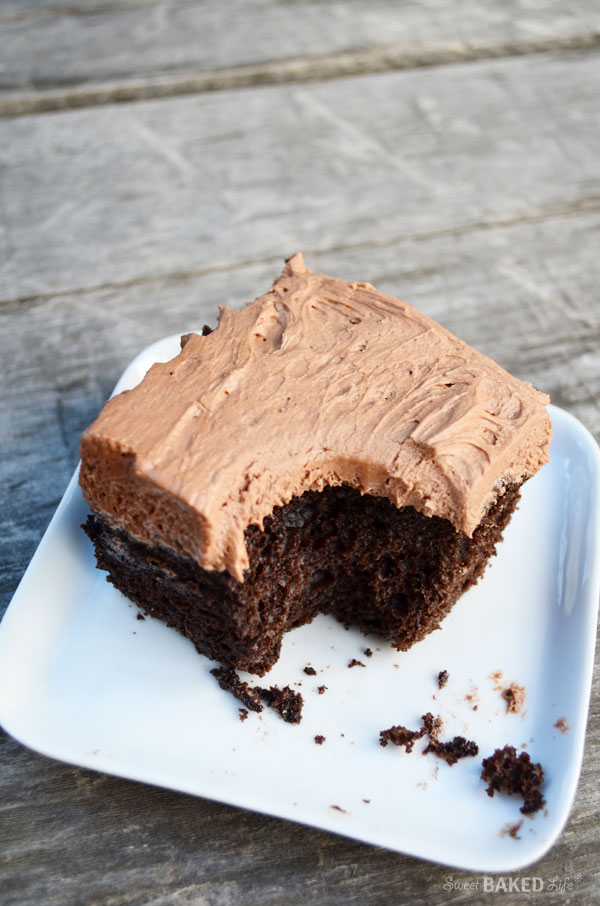 Chocolate Buttercream Frosted Chocolate Cake | Sweet Baked Life