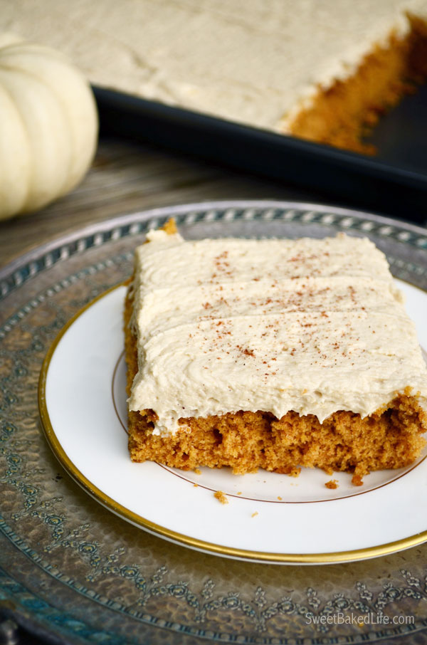 Pumpkin Spice Cake with Brown Sugar Marshmallow Buttercream Frosting |Sweet Baked Life