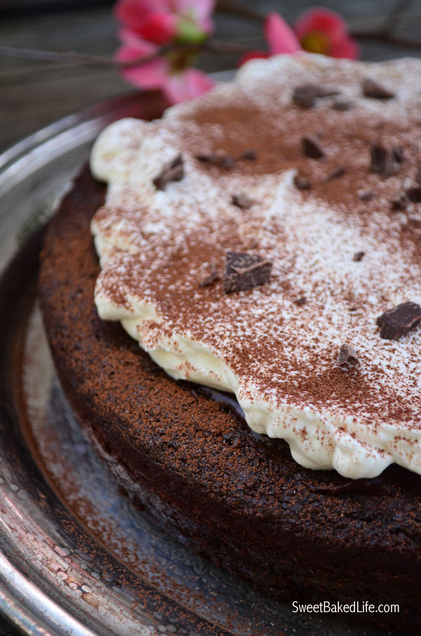 Bailey's Irish Cream Chocolate Cake includes a one-layer Bailey's chocolate cake, topped with Bailey's ganache and slathered with Bailey's whipped cream! | Sweet Baked Life