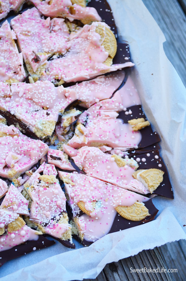 Birthday Cake Bark - a combination of dark and white chocolate along with Golden Oreo Birthday Cake Cookies | Sweet Baked Life