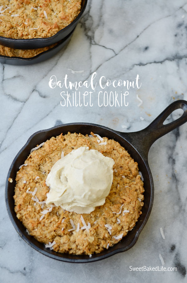 Mini Oatmeal Coconut Skillet Cookies | Sweet Baked Life