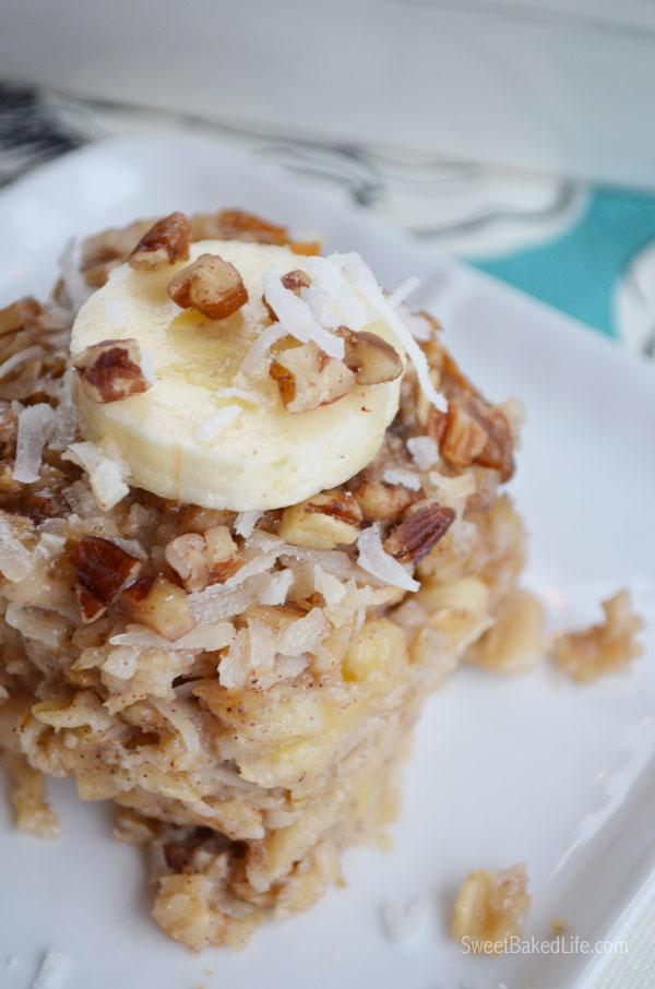 Banana Coconut Baked Oatmeal Squares   Sweet Baked Life