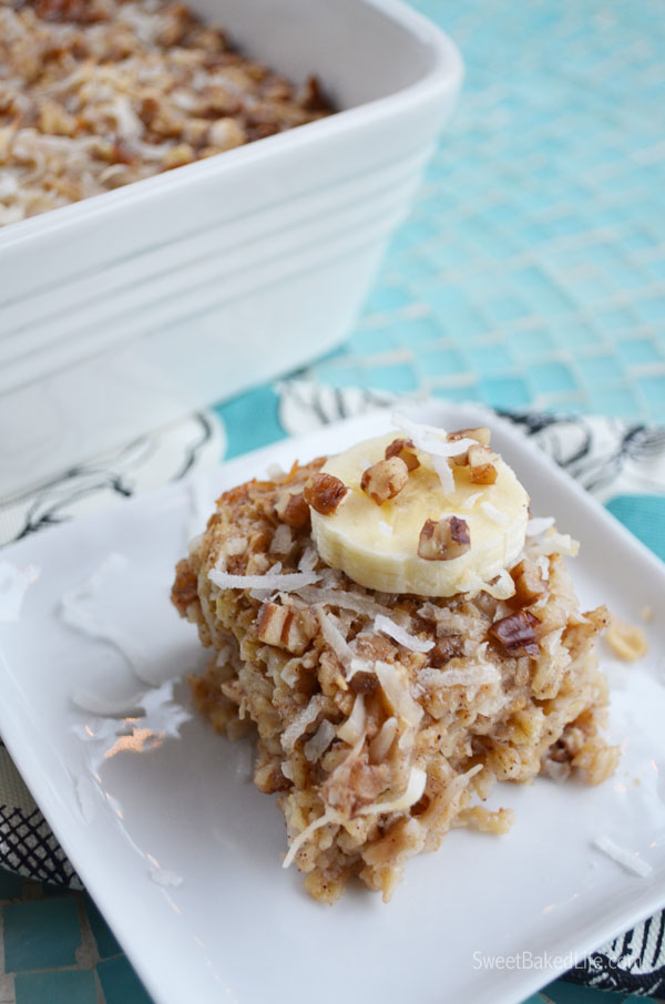 Banana Coconut Baked Oatmeal Squares | Sweet Baked Life