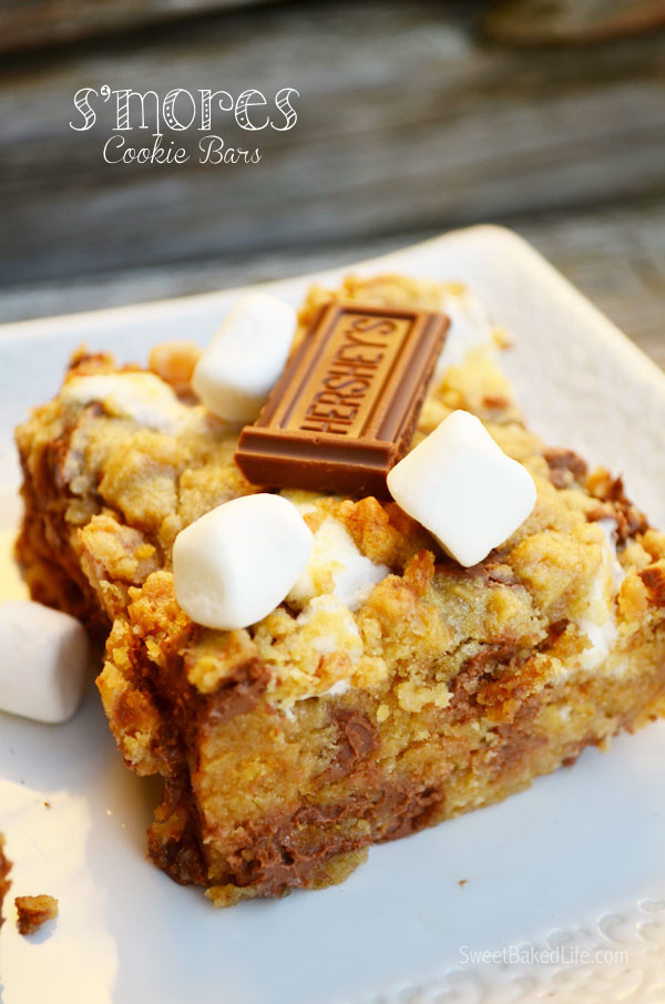 S'mores Cookie Bars | sweetbakedlife.com