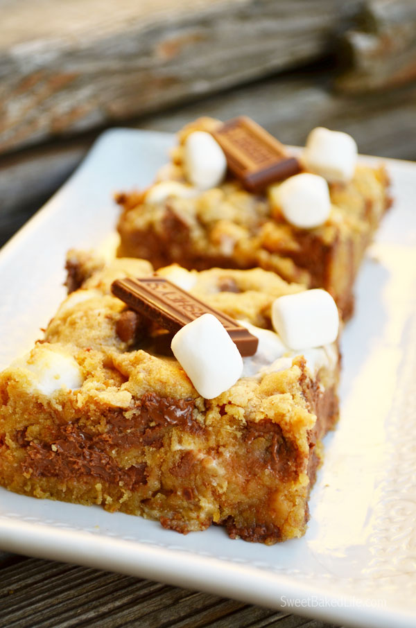 S'mores Cookie Bars   sweetbakedlife.com