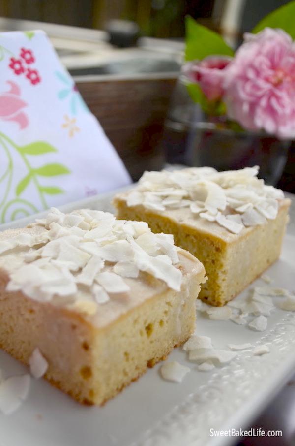 Healthy Coconut Poke Cake {dairy-free, grain-free} @sweetbakedlife.com
