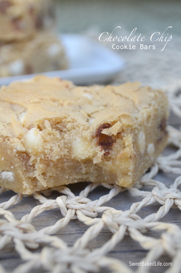 Soft baked Chocolate Chip Cookie Bars @ sweetbakedlife.com