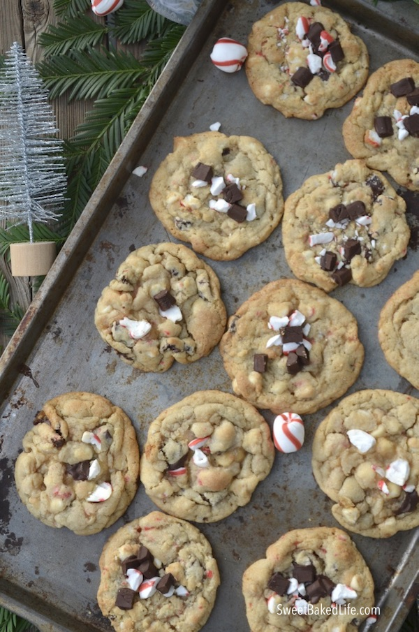 Big, soft and tasty Peppermint Chip Cookies - filled with dark chocolate chunks, white chocolate chips and chopped peppermint candy! @sweetbakedlife