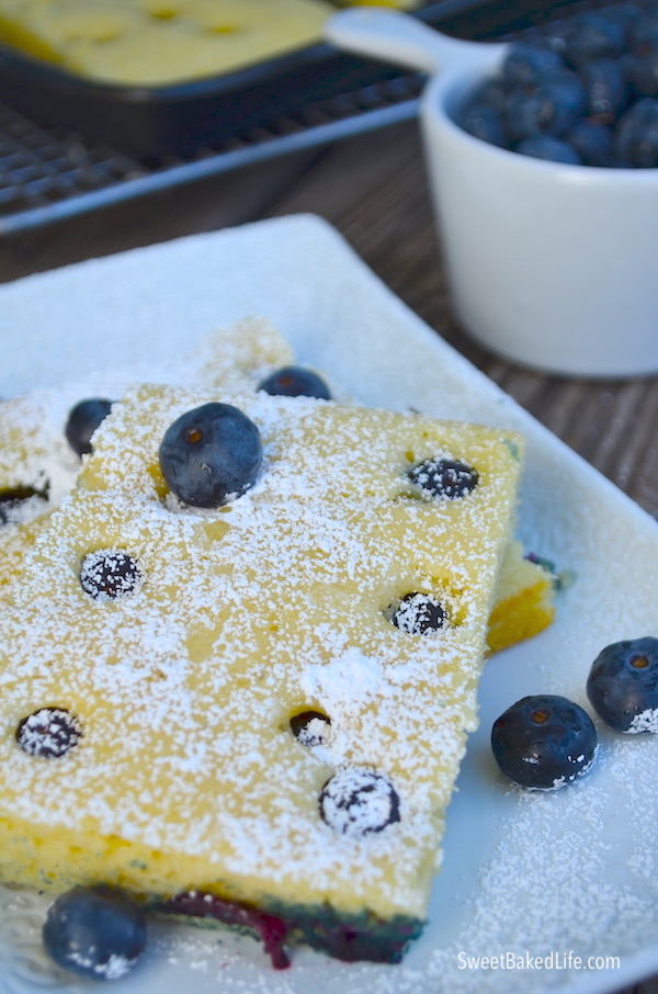 Quick, easy and healthy Blueberry Sheet Pan Pancakes @ sweetbakedlife