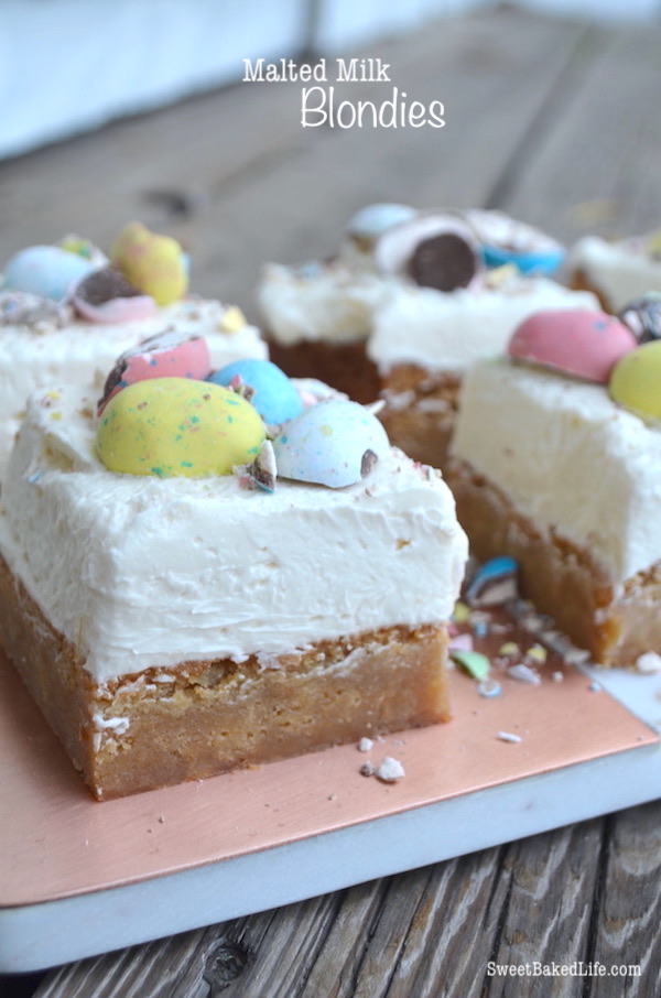 Hop into Spring with these pretty Malted Milk Blondies @sweetbakedlife
